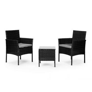Meble ogrodowe zestaw kawowy stół krzesła 2x fotel- czarne