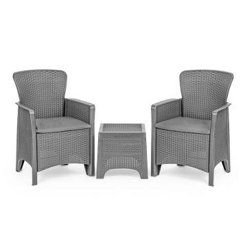 Meble ogrodowe zestaw kawowy stół krzesła 2x fotel- szare