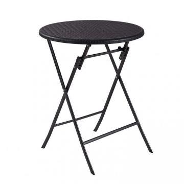Stolik kawowy składany stół ogrodowy rattan 60cm- czarny
