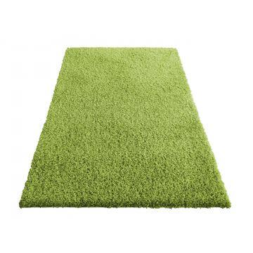 Dywan Shaggy - zielony-jednolity- jednokolorowy- długi włos, włochacz