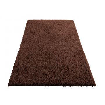 Dywan Shaggy - brązowy- jednolity- jednokolorowy- długi włos