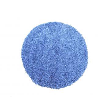 Dywan Shaggy okrągły - niebieski-z długim włosem